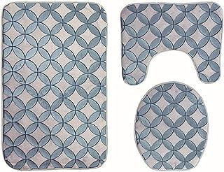 ZXCVBNN浴室マット、フロアマット、トイレシート、ブルーを含む新しい滑り止め吸収性3片洗えるトイレマット