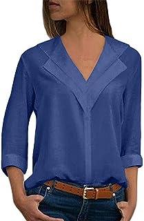 comprar comparacion Blusa Gasa Mujer Verano, Forme a Mujeres la Camiseta sólida de la Gasa de la Oficina de Las señoras Plain Roll Sleeve Blus...