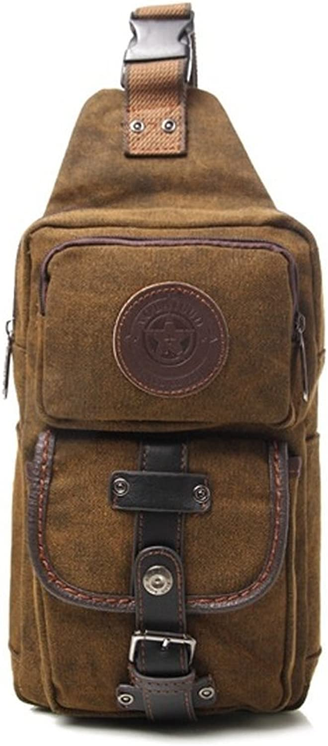 Mens Chest Shoulder Sling Bag Canvas Multi Pocket Hip Belt Crossbody Bag Messenger Bag Casual Bag Tactical Waist Pack