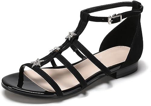 JIANXIN des Sandales Femelle Sandales Plates été Noir Et gris Loisirs Et Confort Style Romain 35-39 Verges (Couleur   Noir, Taille   EU 36 US 5.5 UK 3.5 JP 23cm)