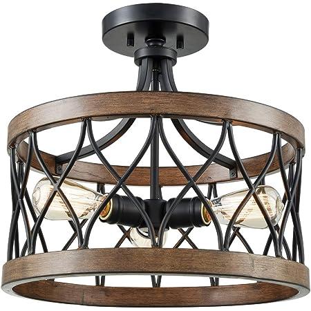 Osimir Semi Flush Mount Ceiling Light 3 Light Ceiling Light Fixture 16 Inch Cage Drum Pendant Hanging In Wood And Black Finish Pe9170 3