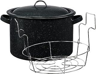 Granite Ware Enamel on Steel Water Bath Canner with lid & Jar Rack, 11.5-Quart, Speckled Black