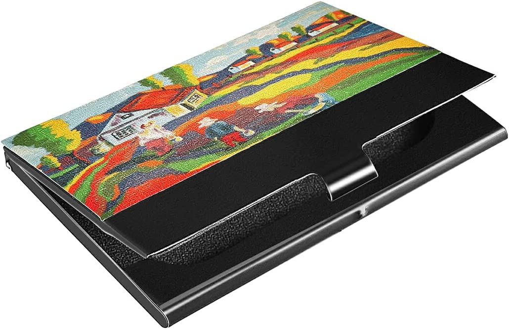 Sales for sale Painted Landscape Bold Max 54% OFF Bright Business Card Case Holder Profess