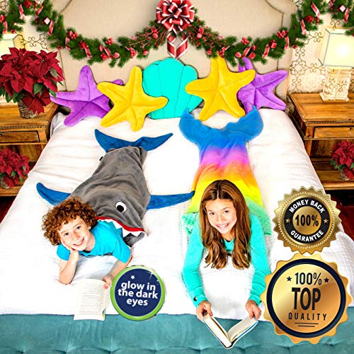 """Product Image 9: Blankie Tails   Shark Blanket, New Shark Tail Double Sided Super Soft and Cozy Minky Fleece Blanket, Machine Washable Wearable Blanket (56"""" H x 27"""" (Kids Ages 5-12), Glow in The Dark – Gray & Blue)"""