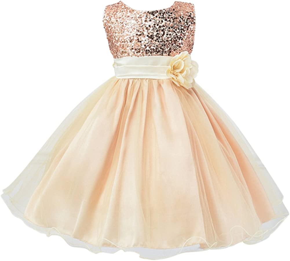 Weixinbuy Kids Inexpensive Girls Sequin Bowknot Summer Wedding Sleeveless Special Campaign Pa