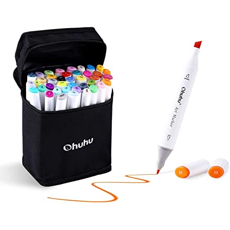 40-color Alcohol Markers, Ohuhu Double Tipped Chisel & Fine Alcohol-based Art Markers for Kids, Adults Coloring Drawing Illustrations, 1 Alcohol Marker Blender Included, Great Mother's Day Gift Idea