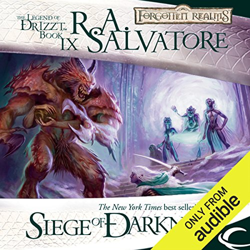 Siege of Darkness     Legend of Drizzt: Legacy of the Drow, Book 3              By:                                                                                                                                 R. A. Salvatore                               Narrated by:                                                                                                                                 Victor Bevine                      Length: 12 hrs and 7 mins     93 ratings     Overall 4.7