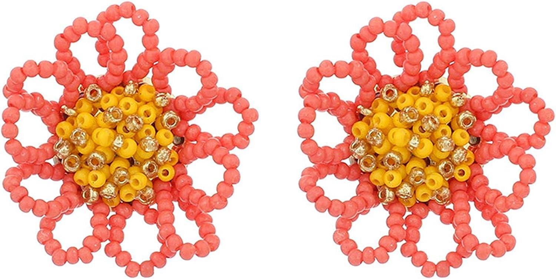 Beaded Drop Earrings Colorful Beaded Flower Earrings Handmade Bohemia Tropical Sunflower Dangle Earrings Statement Boho Floral Daisy Beads Earring for Women Girl Jewelry