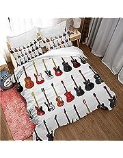QYWXN Beddengoed Set 3 stuks, kleur gitaar, muziek, Dekbedovertrek Beddengoed Set, Zachte Microvezel Gemakkelijk Onderhouden, 3D Digitale Print met rits, 1 Dekbedovertrek en 2 kussensloop, Beste Geschenken, 230X220CM