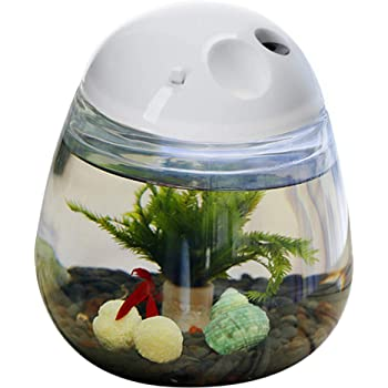 Amazon Com Saim Plastic Small Fish Tank With Lid Desktop Round Fish Bowl And Led Lighting For Betta Fish Home Office Decoration With Charger Pattern Pet Supplies