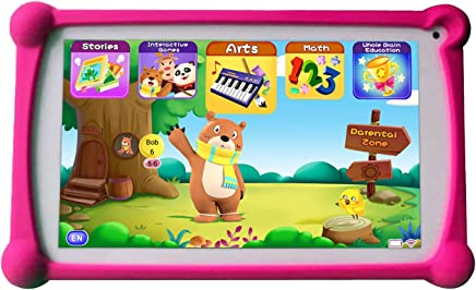 B.B.PAW Kids Tablet, 7 inch 1G+8G Android Tablet with Additional 120+ English Preloaded Learning&Training Apps for Kids-Candy Pink