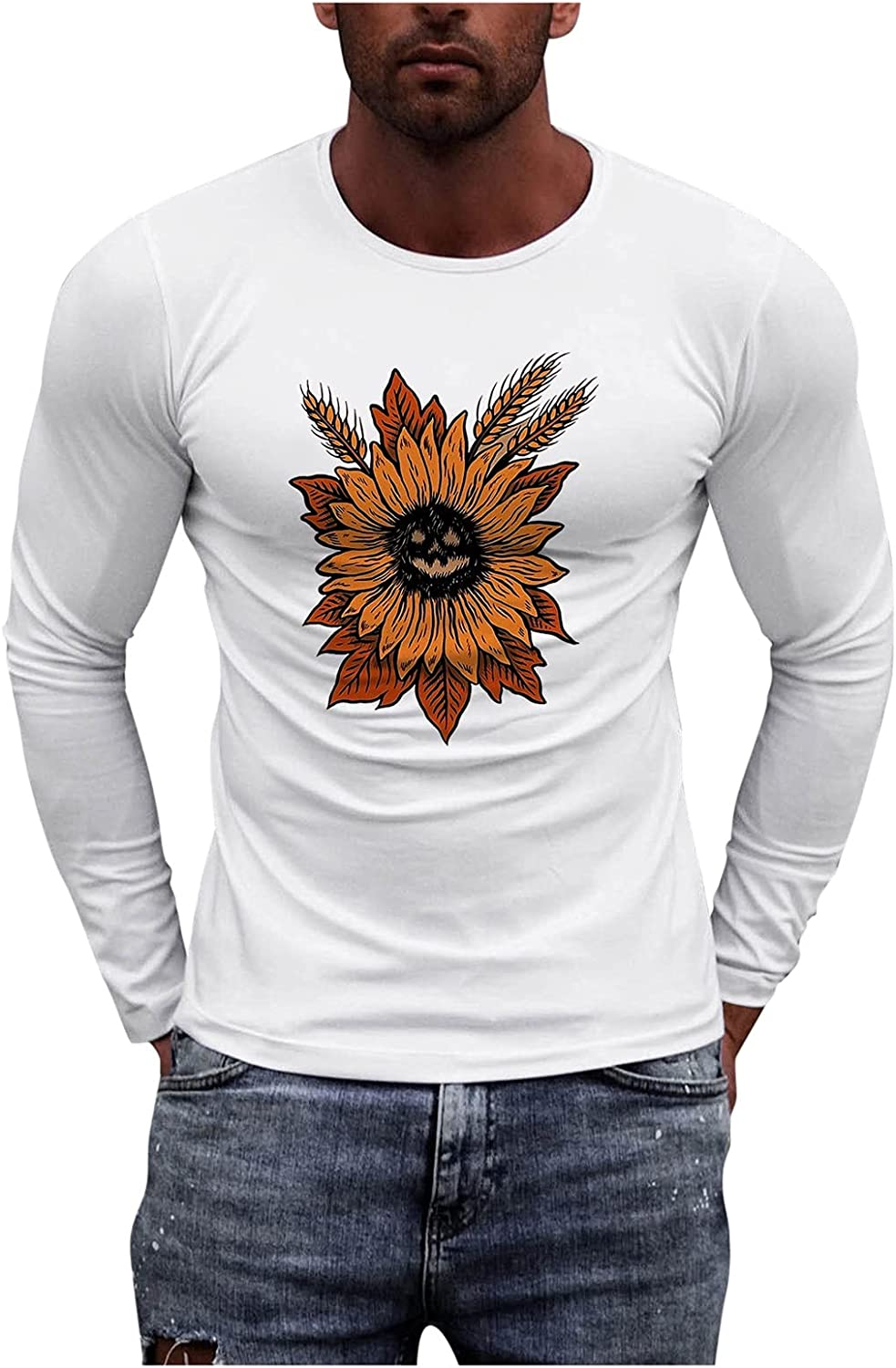 BEUU Mens Athletic Shirts Long Sleeve Sports Gym Workout T-Shirt Regular Fit Graphic Classic Tops Pullover Sweatshirts