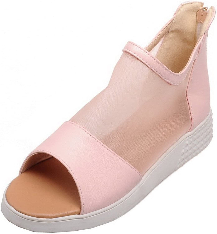WeenFashion Women's Blend Materials Solid Zipper Peep-Toe Sandals, CA18LA03525