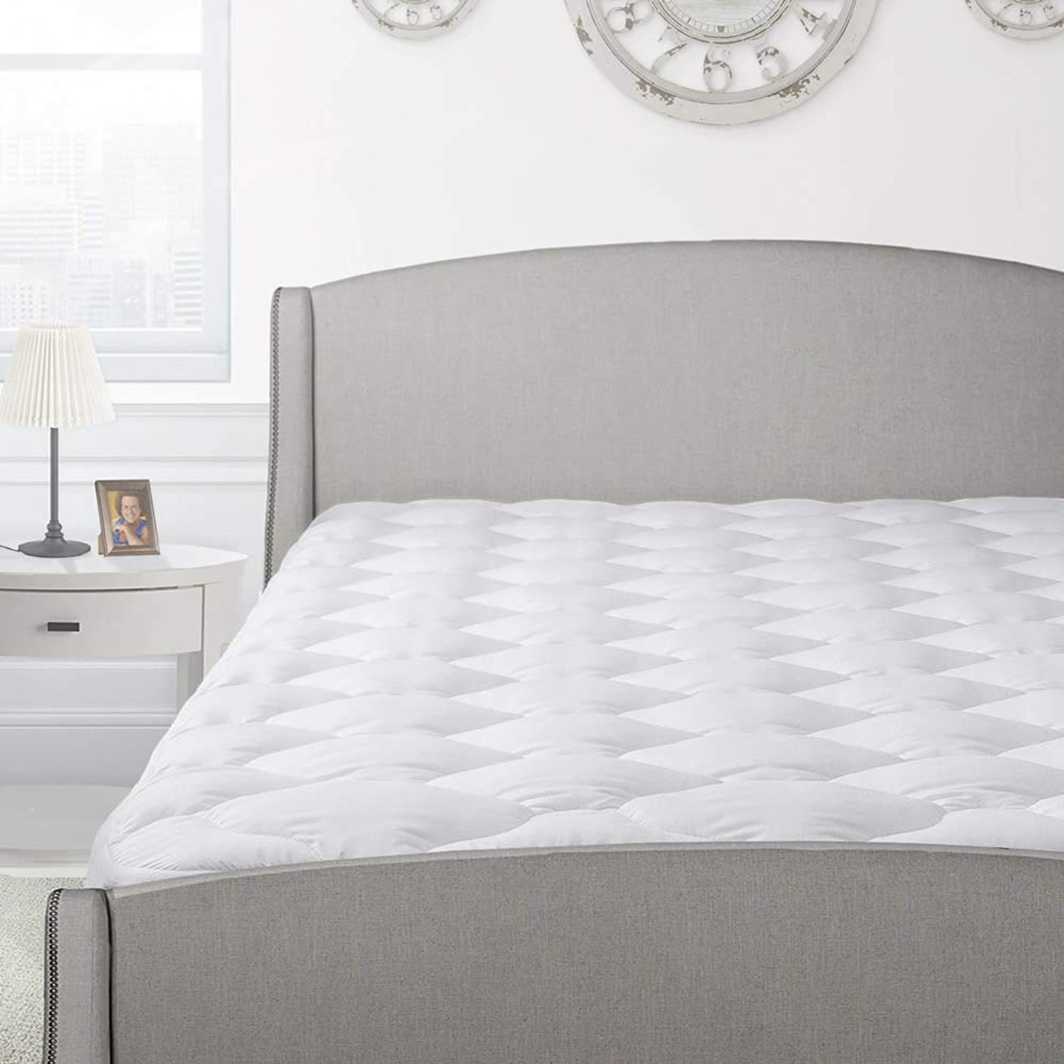 Cardinal & Crest Overfilled Thick Pillow Top Mattress Pad with Fitted Skirt - Luxury Comfort Down Alternative Mattress Predector - Overfilled Mattress Topper Made in The USA - Full Size