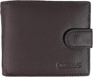 Mens Genuine Leather Purse Wallet Credit Card Holder with Id Window and Coin Pocket (Brown)