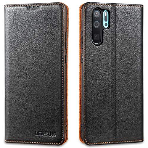 LENSUN Echtleder Hülle für Huawei P30 Pro, Leder Handyhülle Magnetverschluss Kartenfach Handytasche kompatibel mit Huawei P30 Pro New Edition – Schwarz(P30P-DC-BK)
