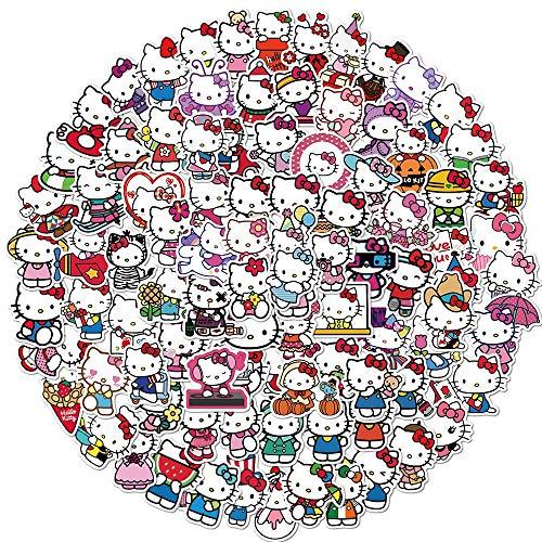 Pegatina de Hello Kitty para ordenador portátil, monopatín, taza de agua, para frigorífico, coche, motocicleta, PVC, 100 unidades