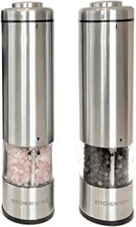 Electric Salt and Pepper Grinder Set by Kitchen Noble - Battery Operated Ceramic Burr Salt Pepper Mills with Automatic Push Buttons, LED Light & Adjustable Coarseness - Solid Stainless Steel Shakers