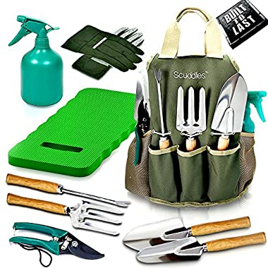 Scuddles Garden Tools Set - 8 Piece Gardening tools With Storage Organizer, Ergonomic Hand Digging Weeder, Rake, Shovel, Trowel, Sprayer, Gloves Gift for Man & Women (Garden Tools With Mat)