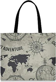 Canvas Tote Bag Vintage World Map Globe Compass Retro Shopping Cloth Bag Reusable Grocery Bag Shoulder Bags