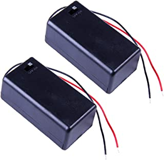 Hosyl 9V Battery Holder Battery Case Battery Box with ON/Off Switch 2Pcs(Red Black Wire)