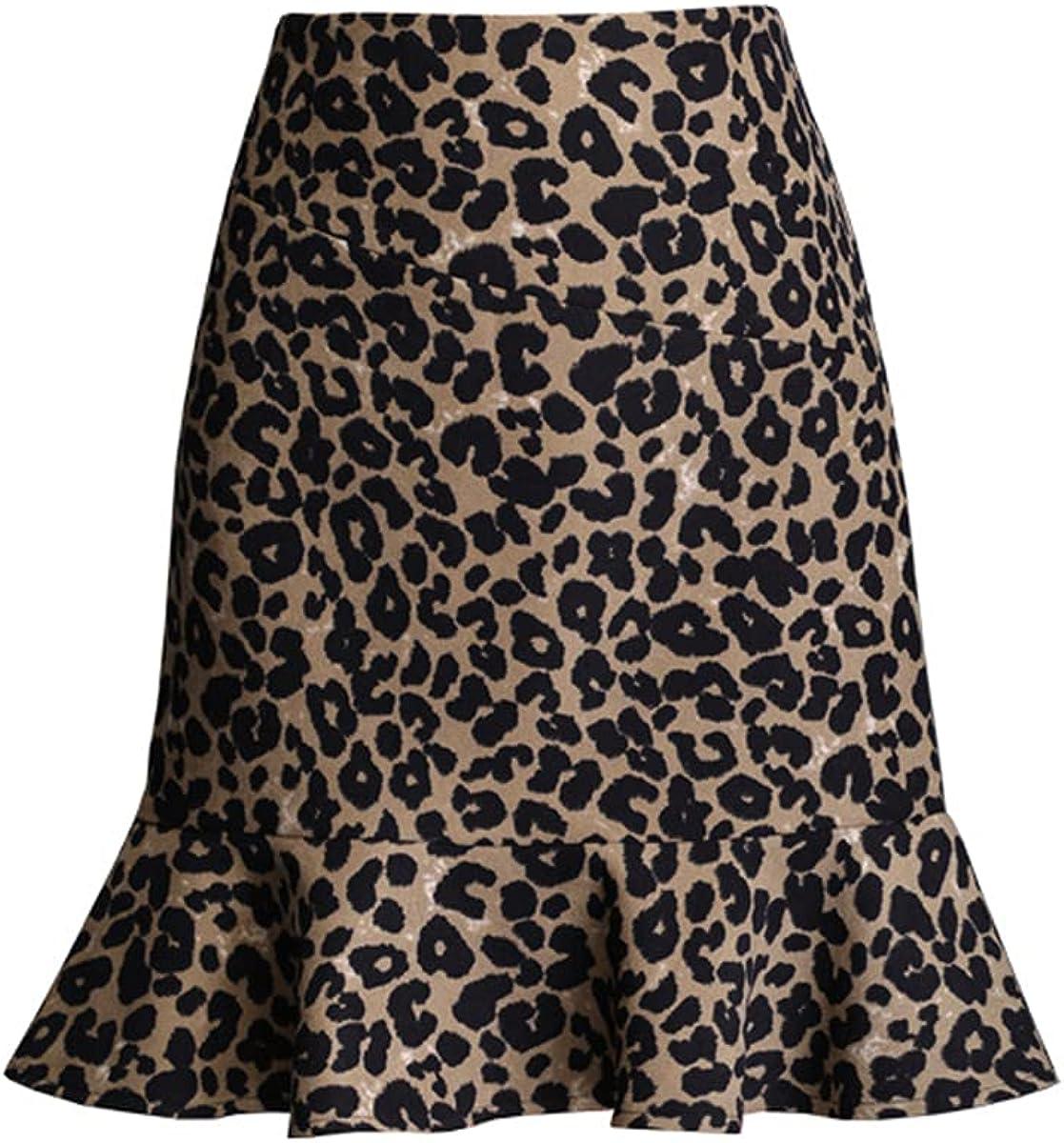 ATHX Women's Leopard Mermaid High Waist Mini Skirt