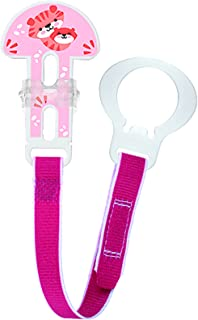 MAM Pacifier Clips, Baby Pacifier Clip, 'Animal' Design Collection Pacifier Clip, Girl, 1-Count