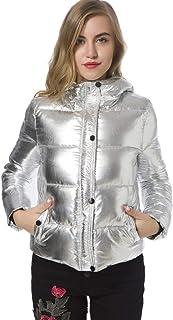 ファッションイージーマッチメタリックカラージッパー付きコットンパッディングアウトウェア長袖フード付きダウンジャケット女性用 JBP-X