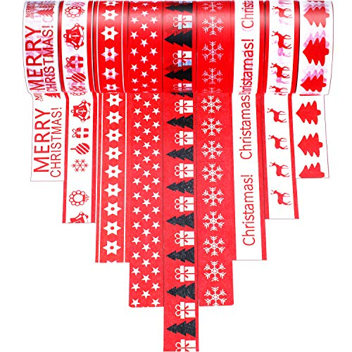9 Rolls Christmas Washi Tape Decorative Washi Masking Tape Xmas Holiday Decorations for Craft, Gift, Scrapbook, Assorted Christmas Designs