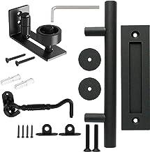Schuur deurklink Kit, Tchosuz 12 inch Heavy Duty Push Pull Deurgreep, Floor Guide, Deurvergrendeling, Anti-Roest Iron Schu...