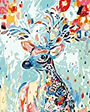 INMOZATA Pintura por Números, DIY Pintar por Numeros para Adultos Niños, Pintura al óleo Kit con Pinceles y Pinturas, Lienzo Regalo de Pintura para Adultos Mayores (Ciervos de Colores, 16*20 Pulgadas)