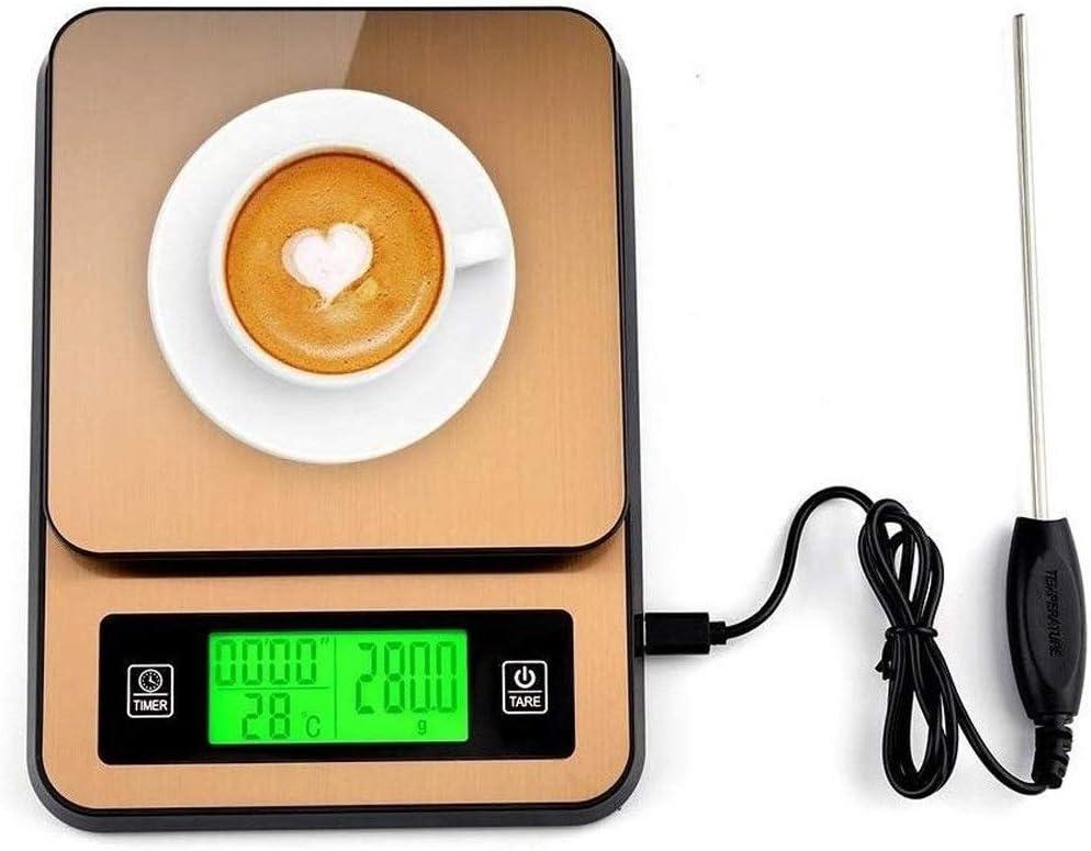 Báscula Digital para Cocina Escalas de alimentación de Cocina Digital, Café Balanzas de cocción de pesaje de Acero Inoxidable con Sensor de Temperatura, Temporizador, función de Tara, Pantalla LCD