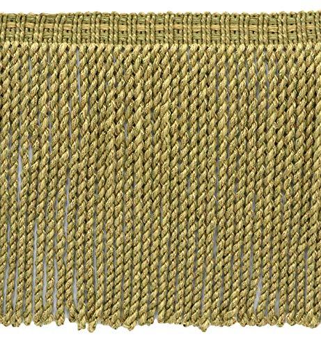 DecoPro Contemporain, Modern|Artichoke Vert, Medium Gold|76 mm décoratifs Lingot Fringe|Sold au mètre (91 cm) |Style # : Bfv6|Color : Vnt15 – Olive Grove