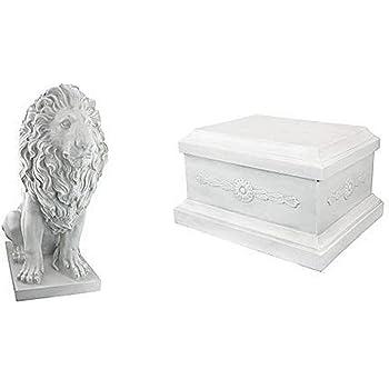 Design Toscano Lion of Florence Sentinel Animal Statue & Base Set, Polyresin, Antique Stone