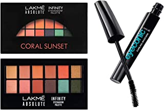 Lakme Absolute Infinity Eye Shadow Palette, Coral Sunset, 12 g and Lakme Eyeconic Lash Curling Mascara, Black, 9ml