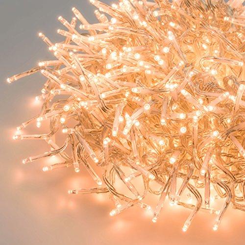 LuminalPark Cluster-Lichterkette 4,5 m, 450 Mini LEDs extra warmweiß, transparentes Kabel, Dauerlicht, 30V, innen