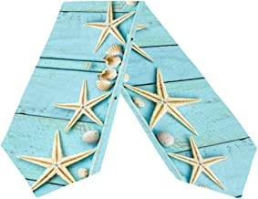Double-Sided Ocean Theme Seashell Starfish Blue Wooden Table Runner 13 x 70 Inches Long,Table Cloth Runner for Wedding Party Holiday Kitchen Dining Home Everyday Decor