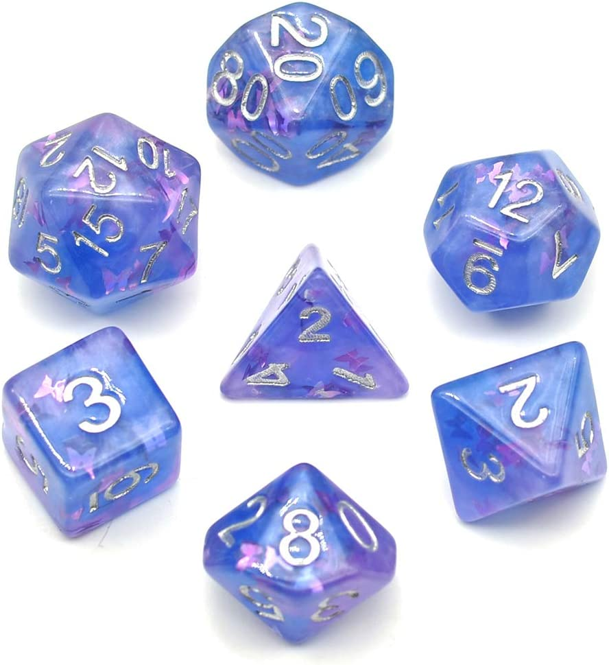 Pale Purple /& Toxic Green Marble Effect RPG 7 Piece Polyhedral Dice Set for Dungeons and Dragons Tabletop Games Pathfinder