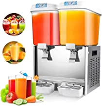 IRONWALLS 18L/4.75 Gallon X 2 Tank Commercial Beverage Drink Dispenser Machine Cold Fruit Juice Tea Container Temperature Control for Restaurant Hotel Cafe