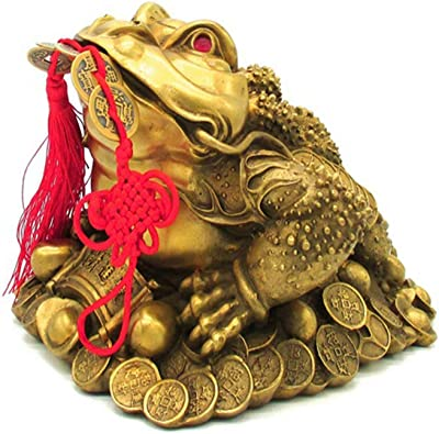 Middle Lucky Gilded Resin Money Toad//Frog Coin Feng Shui Figurine 17268