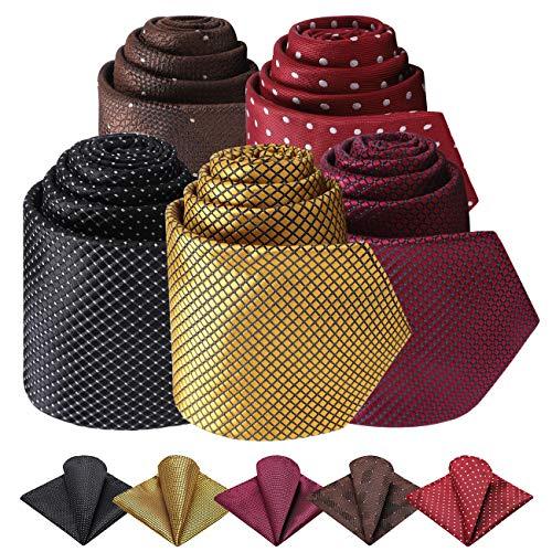 FAIMO Corbata para Hombre, Lote 5 PCS Panuelo de Corbata Solido Clasico Conjunto de Corbata y Bolsillo para Boda Negocio