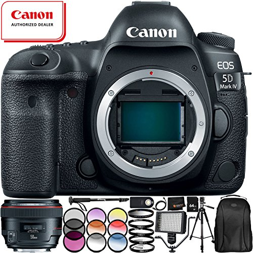Great Features Of Canon EOS 5D Mark IV DSLR Camera 1483C002 with EF 50mm f/1.2L USM Lens - 13PC Acce...