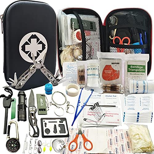 Kit de Survie d urgence 241en 1 Multi-Outils De Survie Vitesse Kit, 241Pcs Tactique IFAK Pouch Outdoor Gear Sac Trauma d urgence pour La Randonnée Camping Hunting Adventures,Noir
