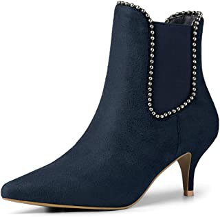 Women's Pointed Toe Beaded Kitten Heel Ankle Chelsea Boots