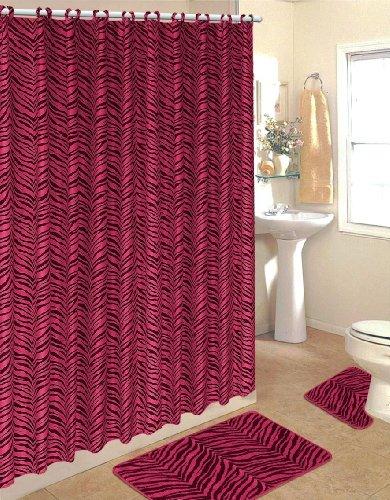 Girly Hot pink zebra print shower curtain