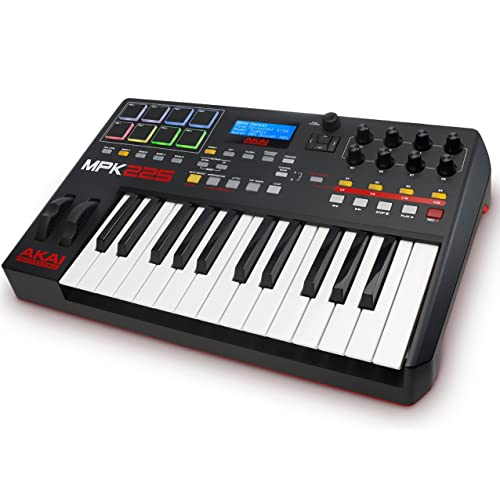 Akai Professional MPK225 -Teclado controlador MIDI USB de 25 teclas semi-contrapesadas, pads
