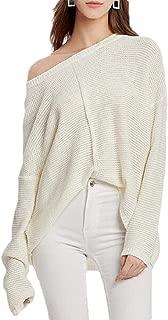 Women's Sweater Tops Baggy Long Sleeve One Shoulder Pullover Knitwear