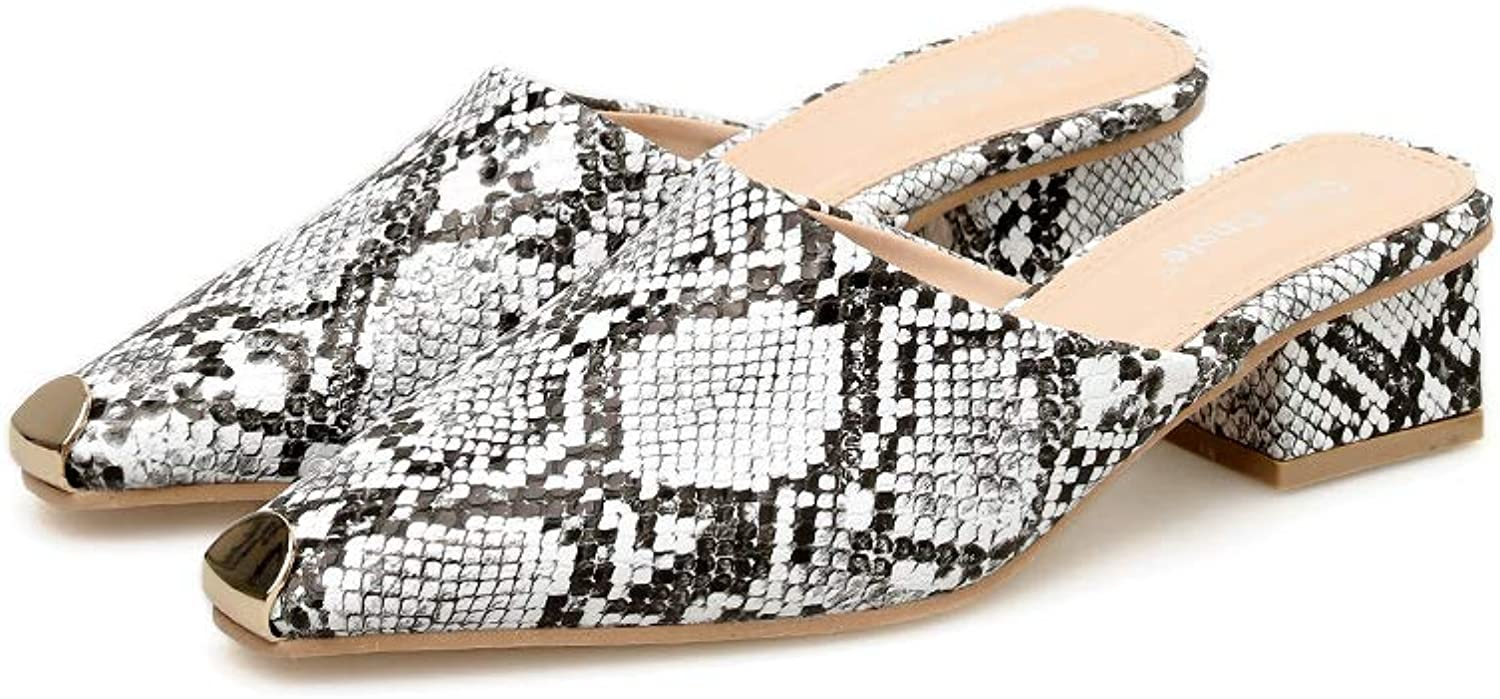 Brilliant sun Women's Pointed Toe Flat Mules Snakeskin Backless Slip On Loafers Slippers