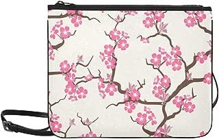 Japan Japanese Flower Floral Sakura Tree Pattern Custom High-grade Nylon Slim Clutch Bag Cross-body Bag Shoulder Bag