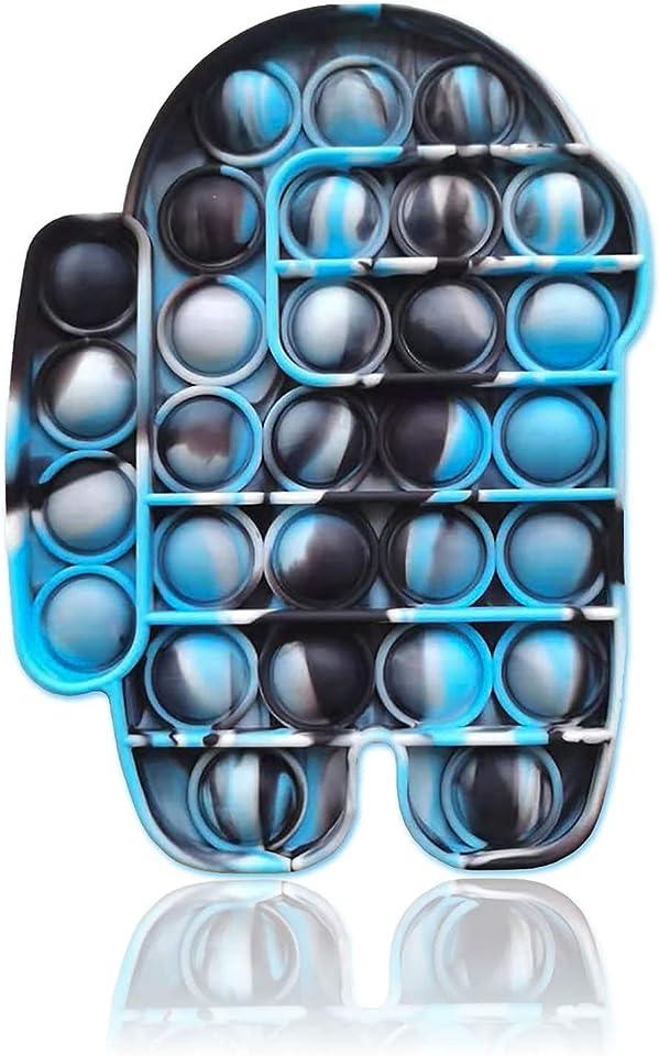 Push Pop Bubble Fidget Sensory Toys|Push Fidget Toys for Anxiety Relief| Kids Toys Poppet Fidget Toy|Squishy Dimple Fidget Popper Game for Autism|Adult Figit Toys (Cama Blue Among)